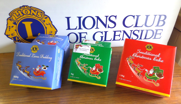 Lions Christmas Cakes and Puddings are available all year round at our Glenside Lions Club Bookmart